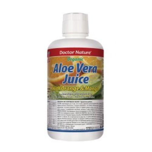 Dr.Nature -АЛОЕ ВЕРА ГЕЛ СОК с портокал и манго-946мл.