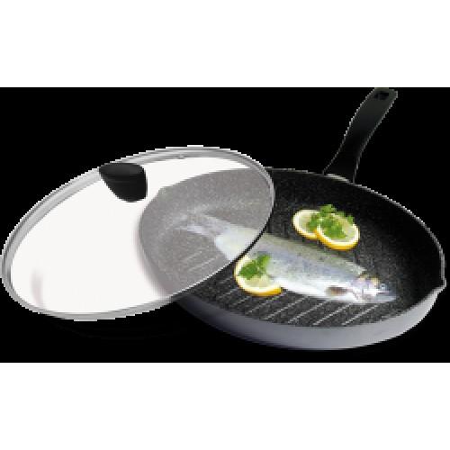 Барбекю-тиган XXL за шницели и риба със стъклен капак (35 х 24 см)