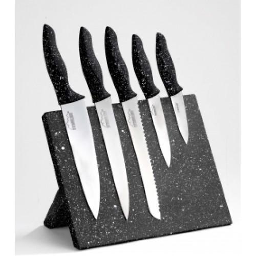 Комплект 5 ножа върху магнитен блок